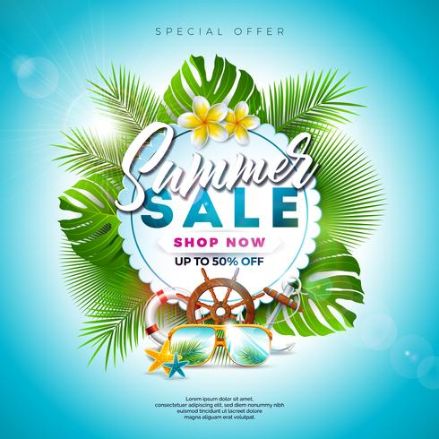 Summer Sale Design met exotische bladeren en bloemen vector