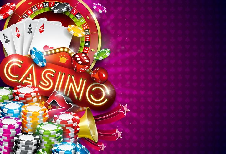 Casinoillustratie met roulettewiel en het spelen van spaanders vector