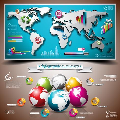 Vectorontwerpreeks infographic elementen. Wereldkaart en informatiegrafiek. vector