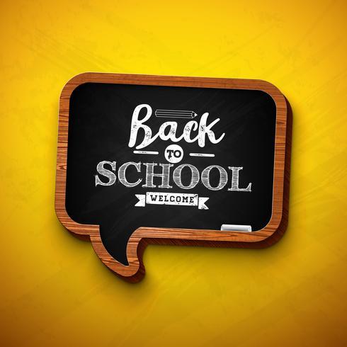 """""""Back to school design"""" op tekstballonkrijtbord vector"""