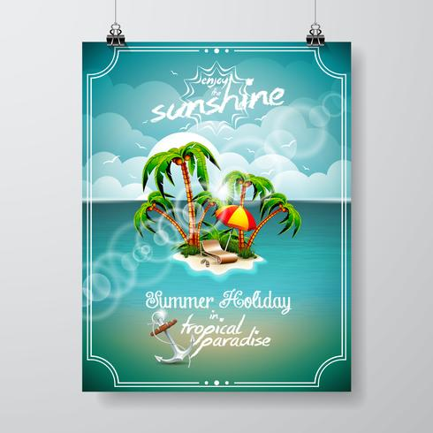 Vectorillustratie op een thema van de de zomervakantie met paradijseiland vector