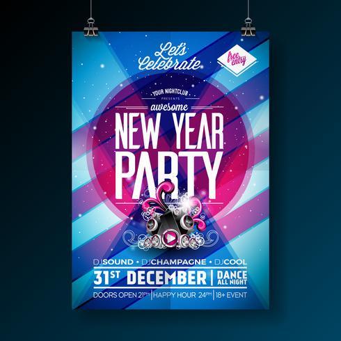 Nieuwjaar partij viering poster sjabloon vector