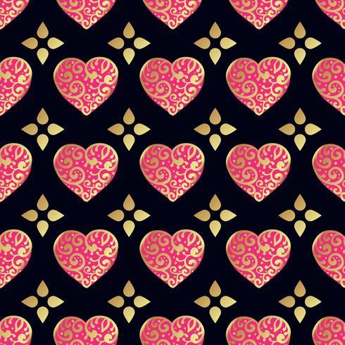 Naadloos gouden patroon met harten. vector