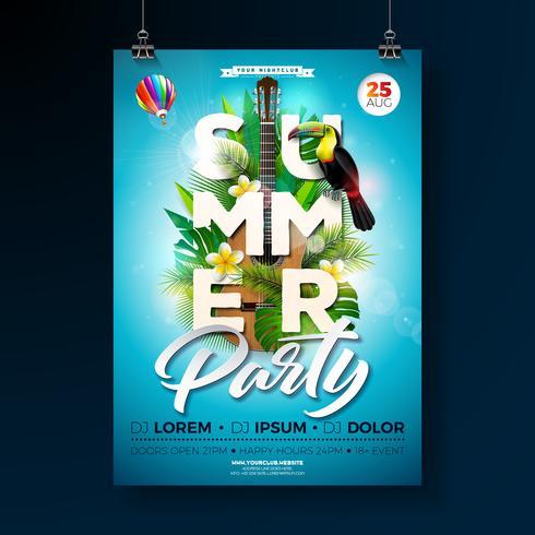 Summer Beach Party Flyer Design met akoestische gitaar vector