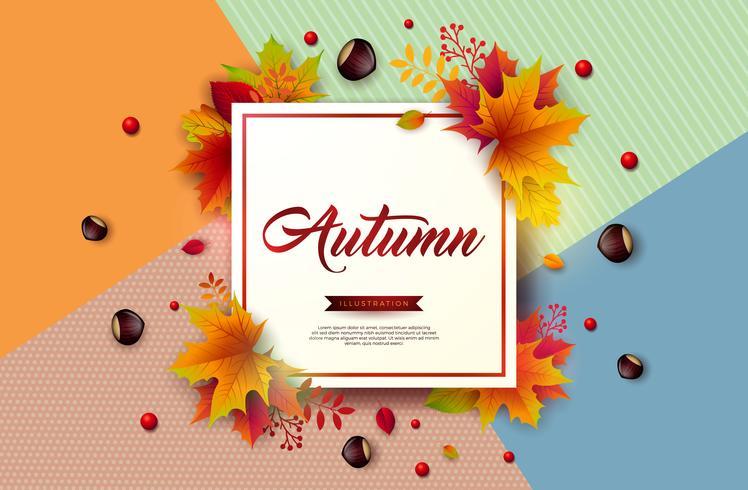 Herfst illustratie met kleurrijke bladeren, kastanje en belettering vector