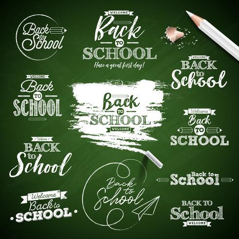 Terug naar schoolontwerp op groene bordachtergrond die wordt geplaatst vector