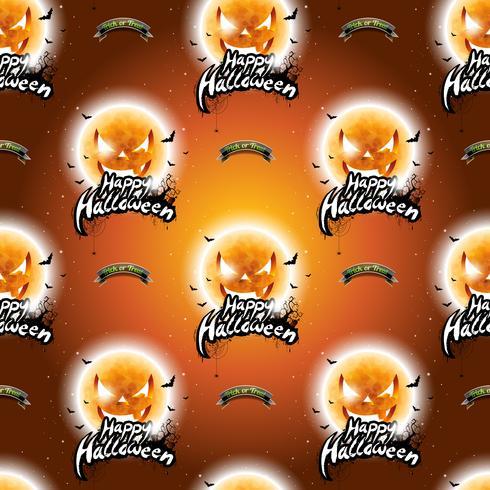 Gelukkige Halloween naadloze patroonillustratie met maan enge gezichten op donkeroranje achtergrond. vector
