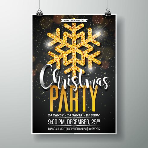 Vrolijk kerstfeest Poster ontwerpsjabloon vector