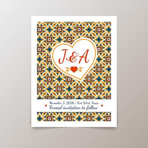 Bruiloft uitnodigingskaart met geometrische vintage vector