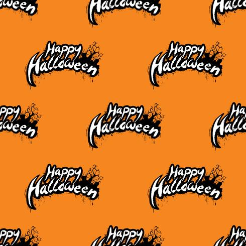 Gelukkige Halloween naadloze patroonillustratie met begraafplaats op oranje achtergrond. vector