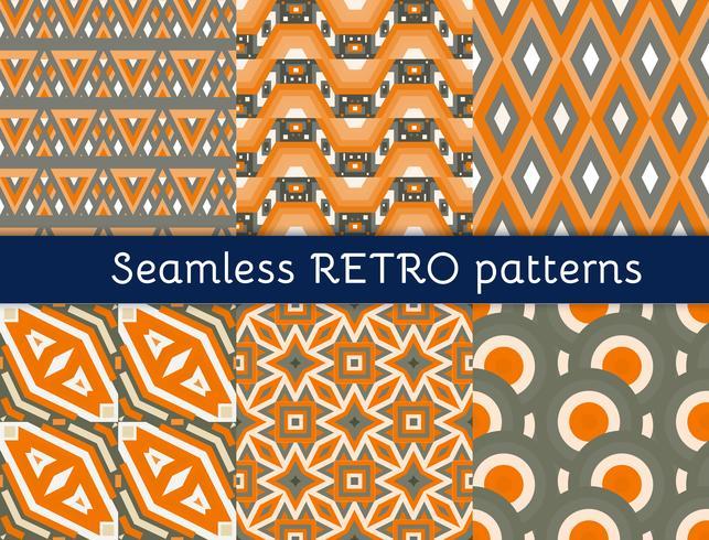 Set van zes etnische naadloze patronen. vector
