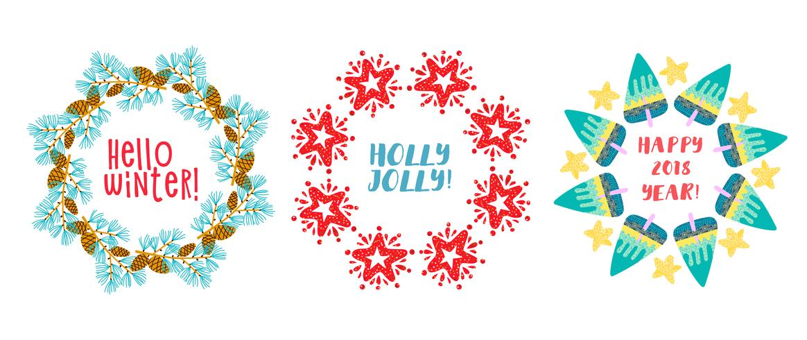 Kerstkrans Pine Branches, star decorated. vector
