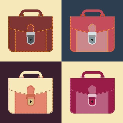 Werkmap pictogram, lederen portefeuille, platte ontwerp. vector