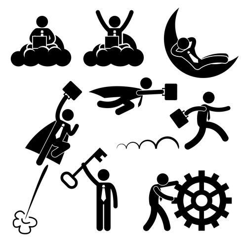 Zakelijke zakenman werken Concept succesvolle ontspannen gelukkig stok figuur Pictogram pictogram. vector