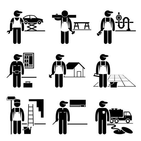 Handyman Labour Arbeider Ervaren Jobs Beroepen Carrière. vector