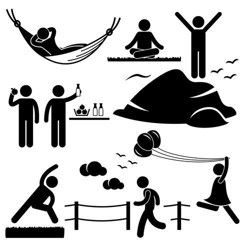 Man vrouw gezond leven ontspannen Wellness-levensstijl stok figuur Pictogram pictogram. vector