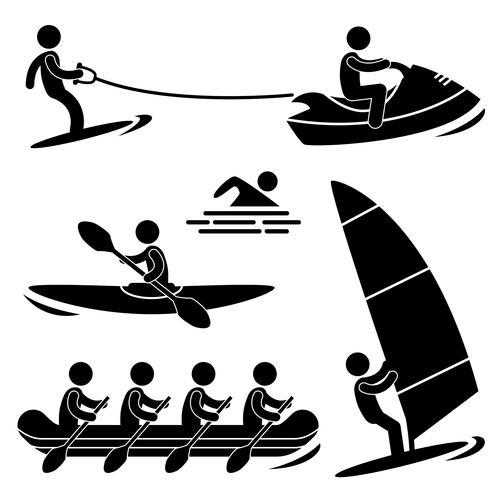 Water Zee Sport Skiën Roeien Windsurfen Rafting. vector
