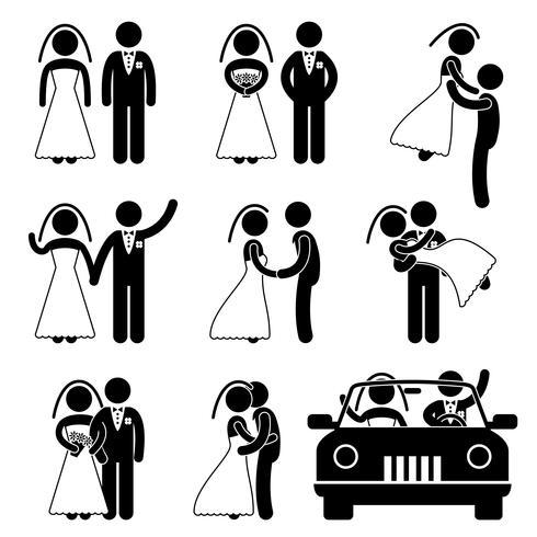 Bruiloft Bruid Bruidegom Getrouwd Huwelijk trouwen. vector