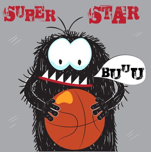 Leuke monster basketbalspeler vector