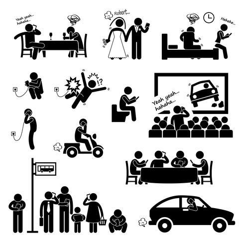 Verslaving obsessie met behulp van Smartphone Handphone telefoon stok figuur Pictogram pictogram. vector