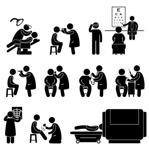 Gezondheid medisch lichaam Check Up onderzoek test pictogram symbool teken Pictogram. vector