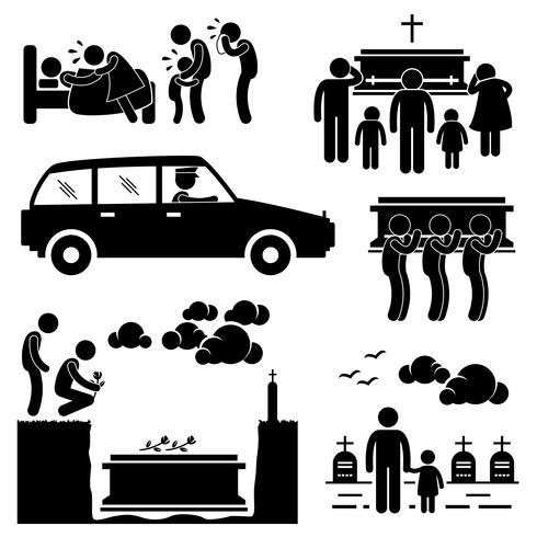 Man begrafenis begrafenis doodskist dood dood gestorven stok figuur Pictogram pictogram. vector