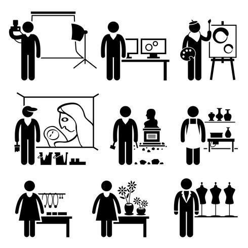 Artistieke Designer Jobs Beroepen Carrières. vector