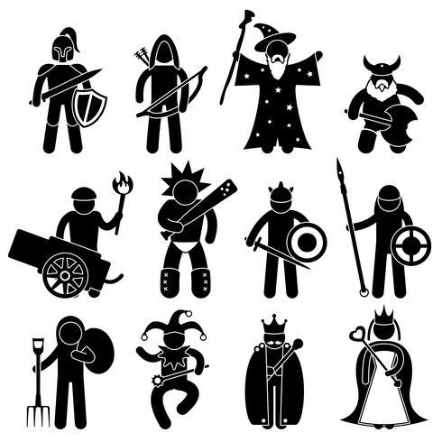 Ancient Warrior Character voor Good Alliance pictogram symbool teken Pictogram. vector