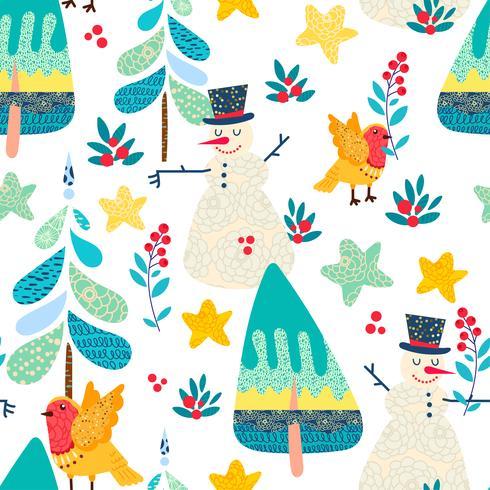 Winter naadloze patroon met een bos van Kerstmis. vector