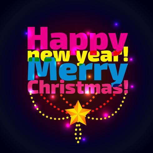 Inscriptie Gelukkig Nieuwjaar en Kerstmis, vector