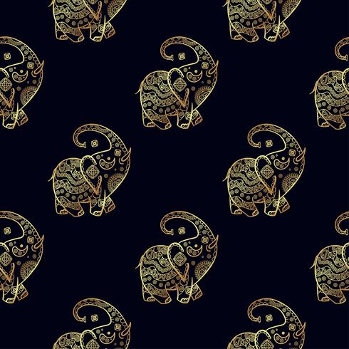 Gouden olifant naadloze patroon. vector