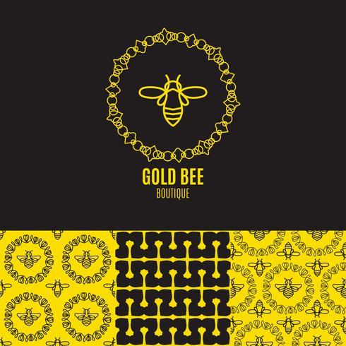 Insecten-badge Bee voor huisstijl vector