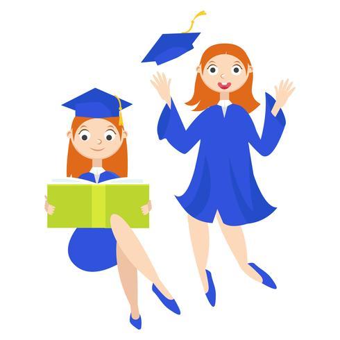 Afgestudeerde student met een diploma vector