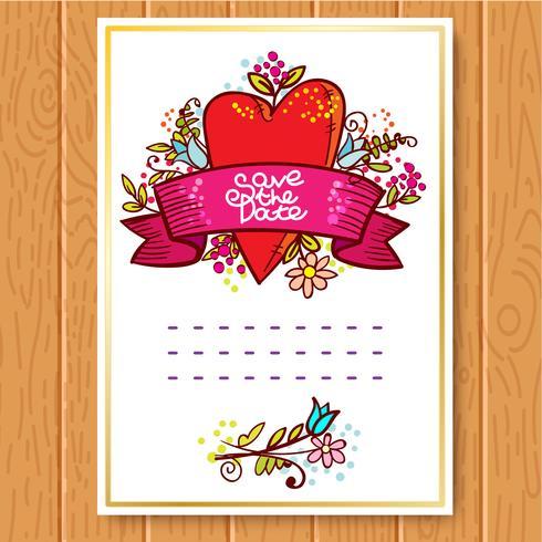 De huwelijksuitnodiging bewaart de datumkaarten vector
