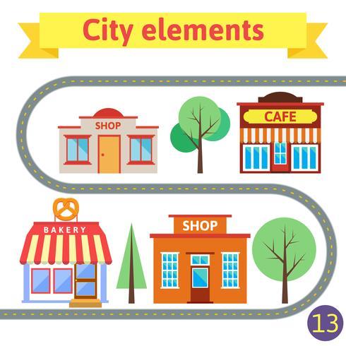 Set van gebouwen voor de stad vector