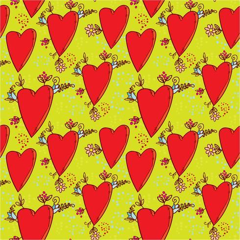 Naadloos patroon met harten en bloemen met een doodle-stijl grafische schets vector