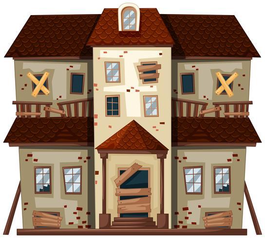 Oud huis met gebroken ramen vector