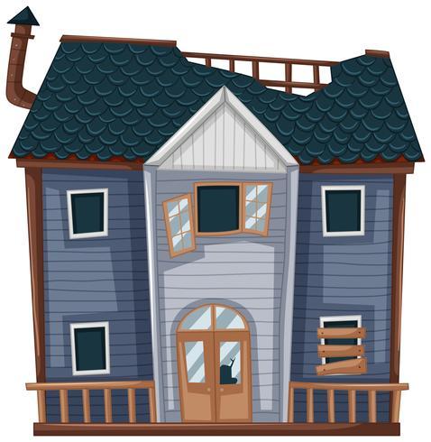 Houten huis met slechte staat vector