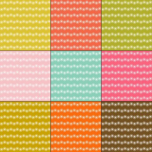 witte bloemstreep patronen op retro kleurenachtergronden vector