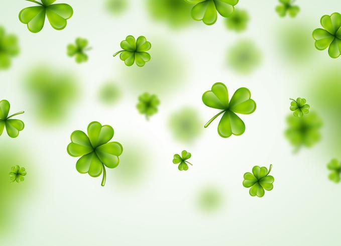 Saint Patricks Day achtergrondontwerp met groene vallende klaverblaadjes blad. Ierse gelukkige vakantie vectorillustratie voor wenskaart, uitnodiging voor feest of promotie banner. vector