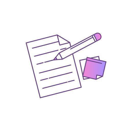 Document met pen en stickers vector