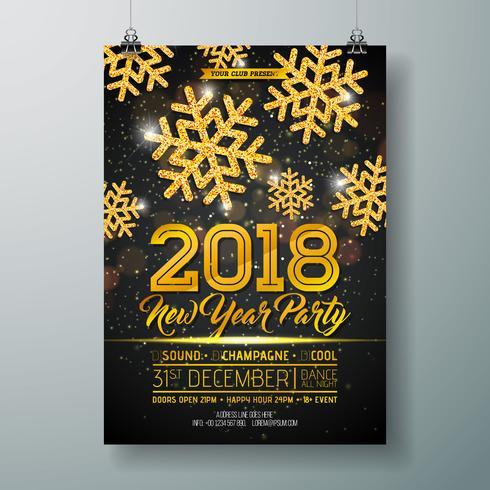 Nieuwe jaar partij viering Poster sjabloon illustratie met 3d 2018 nummer, discobal en vuurwerk op glanzende kleurrijke achtergrond. Vector vakantie Premium uitnodiging Flyer of Promo Banner.