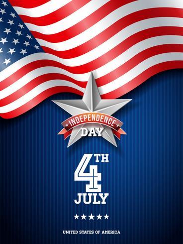Onafhankelijkheidsdag van de VS Vectorillustratie. Vierde juli ontwerp met vlag op blauwe achtergrond voor Banner, wenskaart, uitnodiging of vakantie Poster. vector