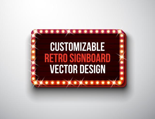 Vector retro uithangbord of lightbox illustratie met klantgericht ontwerp