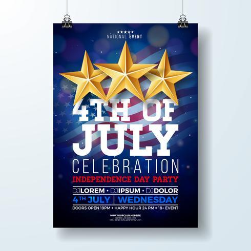 Onafhankelijkheidsdag van de VS partij Flyer illustratie met vlag en lint. Vector vierde juli Design op donkere achtergrond voor viering Banner, wenskaart, uitnodiging of vakantie Poster.