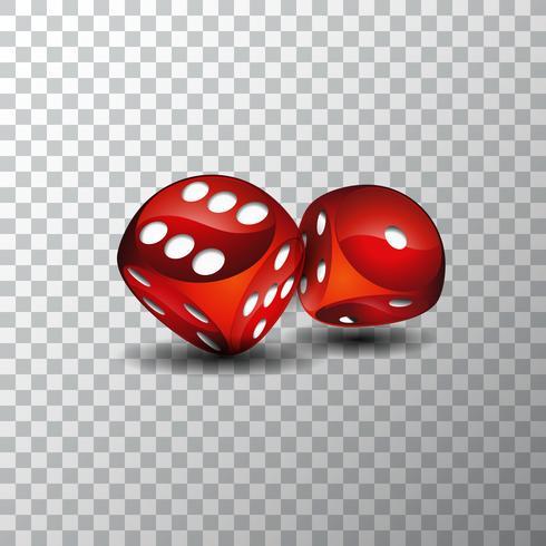 Vector illustratie op een casino thema met rode dobbelstenen op transpareent achtergrond.