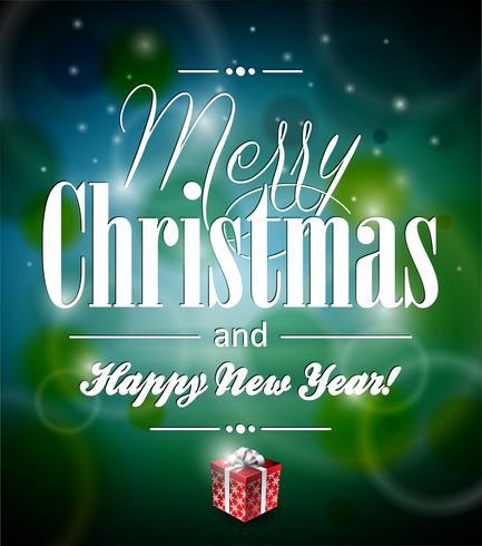 Vector Vrolijke Kerstmisillustratie met typografisch ontwerp