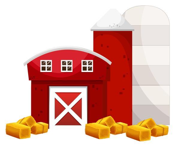 Rode schuur en twee silo in de boerderij vector