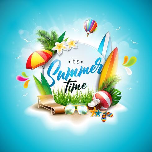 Vector zomertijd vakantie typografische illustratie op vintage houten achtergrond. Tropische planten, bloemen, strandbal, surfplank, luchtballon en zonnescherm met blauwe bewolkte hemel. Ontwerpsjabloon