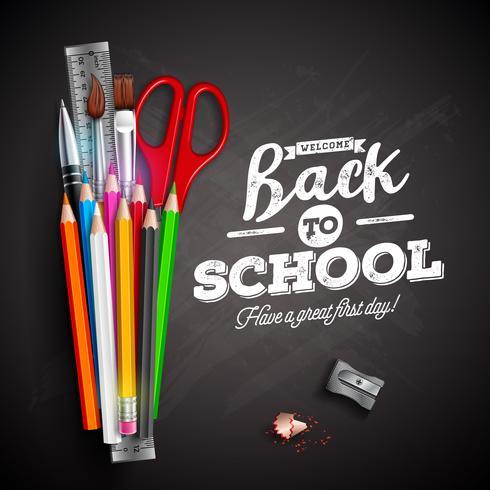 Terug naar schoolontwerp met kleurrijke potlood, pen en typografie het van letters voorzien op zwarte bordachtergrond. Vectorillustratie met liniaal, schaar, kwast vector